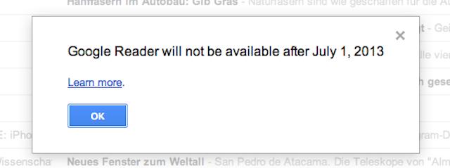 Post image for Google Reader wird eingestellt